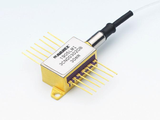 This laser module contains an Avanex SLMQW DFB laser and is designed or use with external modulation optimized or high power Wavelength Division Multiplexed (WDM) systems.