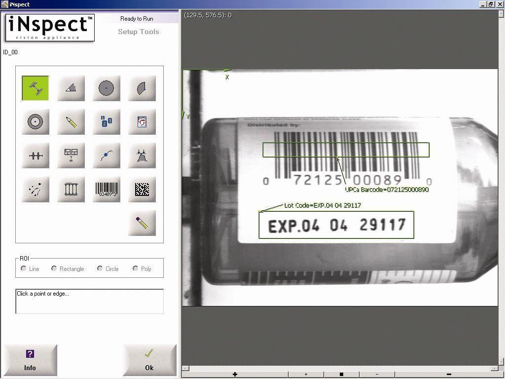 Figure 3. The inspect graphical interface, set up to read the barcode and lot code on a pharmaceutical vial.