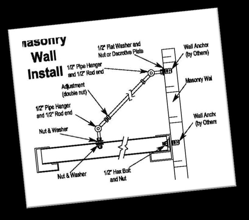 Masonry Wall Applications Note: Additional Support Columns and Pipe Hangers may be required for larger Canopies and/or higher wind loads. Step 1: Install Lower Support Bolts Center canopy over door.