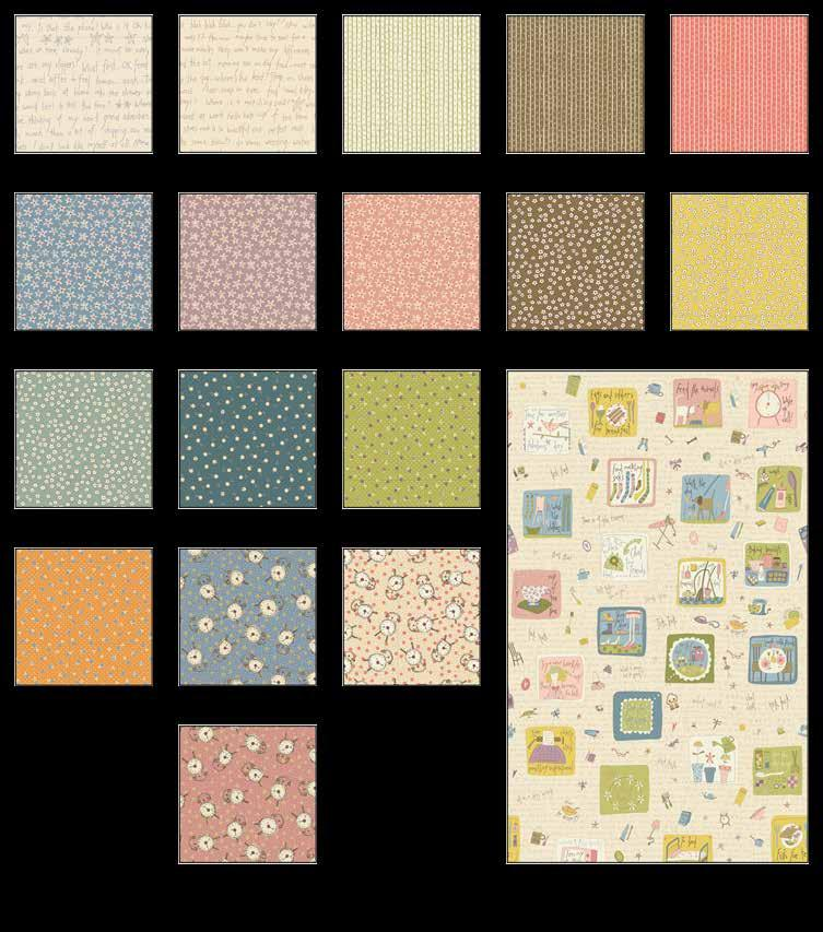 All In A Day unner Fabrics in the Collection Finished unner Size: 2 x Words - Tan/lue 1- Words - Tan/Khaki 1- Stripe - Cream 0- Stripe - rown 0- Stripe - Salmon 0-2 Med. Flower - lue 9- Med.