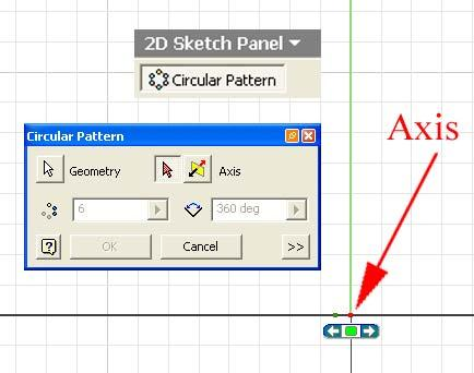 line) for Axis. Figure 1G-5K: Circular Pattern geometry appearing on the screen.