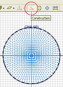 Next, window-selecting all radiating Circular Pattern lines starting from a lower right corner