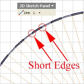 Next, select the Line tool to add short edges to the dovetail seams closed profile, click at