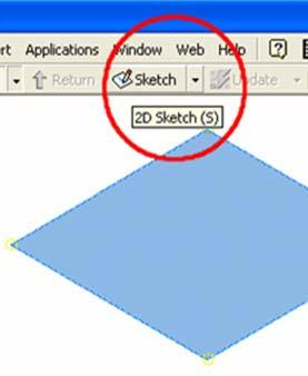 The Sketch1 opens automatically on the screen; and Sketch1 feature appears on the Model panel. Click the Return key in the Inventor Standard tool bar (Figure 1G-2B) to dismiss the Sketch1 feature.