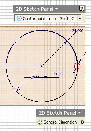 Inventor (10) Module 1G: 1G- 7 green dot endpoint snap indicator (Figure 1G-3G); click the Zoom All tool button on the Inventor Standard toolbar so as to view the entire circle (Figure 1G-3H), and