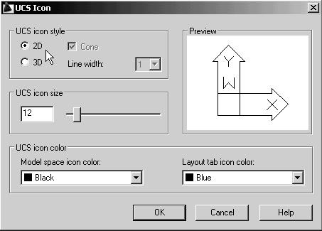 In the UCS icon style section, switch to the 2D option as shown. 3.