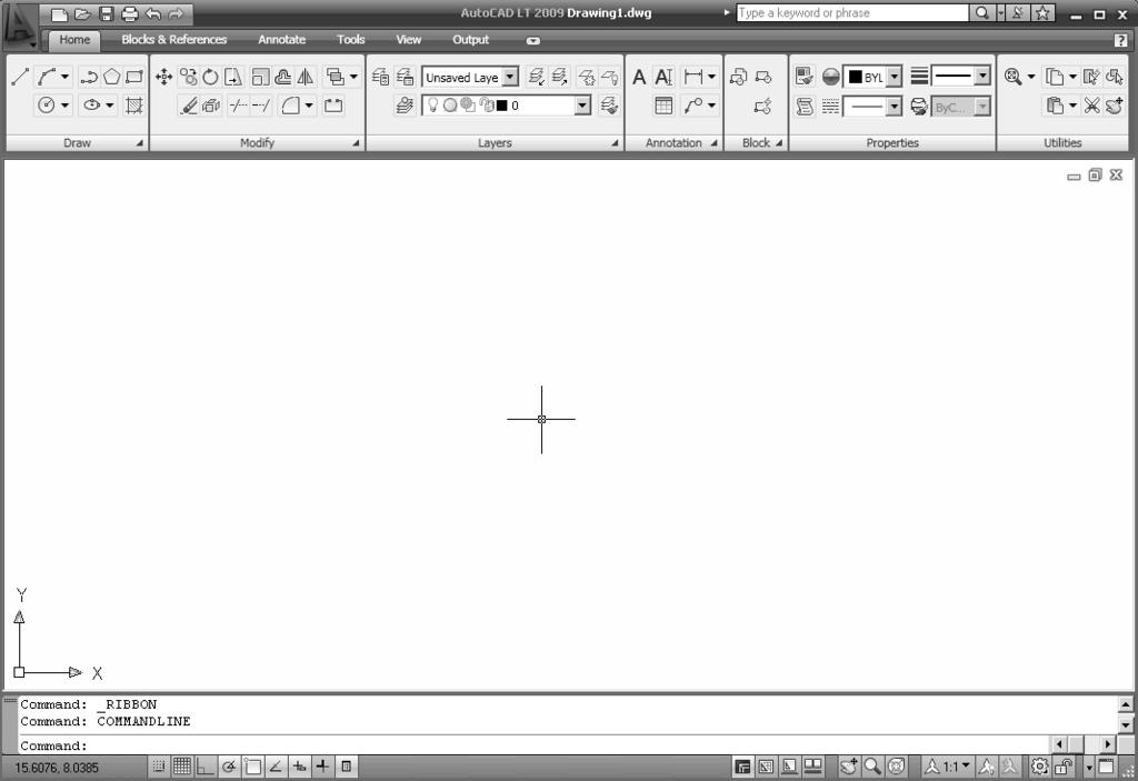 Geometric Construction Basics 1-3 Note that AutoCAD LT automatically assigns generic names, Drawing X, as new drawings are