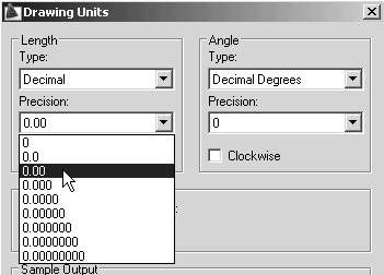 1-4 AutoCAD LT 2009 Tutorial 2. In the Drawing Units dialog box, set the Length Type to Decimal. This will set the measurement to the default English units, inches. 3.