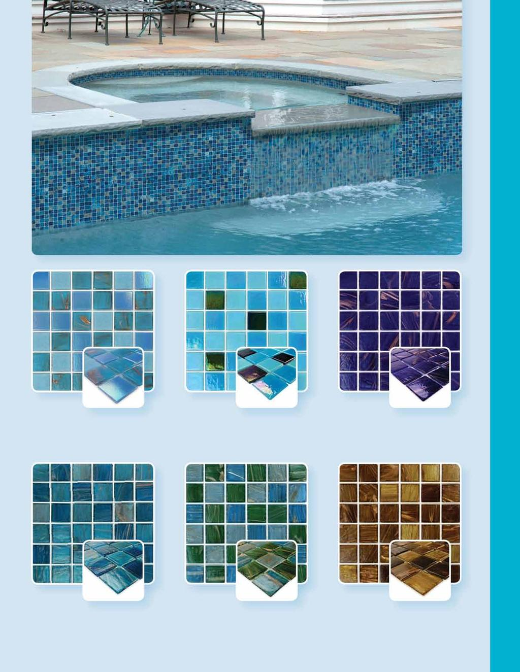 Waterline Tile Blends GV42020B7 Featured Turquoise Copper Blue Iridescent Bubble Blend Part No. Size (in.) Thickness Size (in.