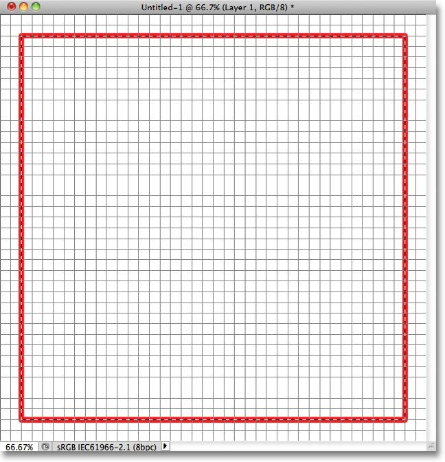 around the grid, but leave a border the width of two squares between the selection outline and the edges of the document.