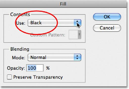 Edit > Fill. This opens Photoshop s Fill dialog box.