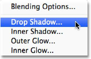 This opens Photoshop s Layer Style dialog box set to the Drop Shadow options in the middle column.