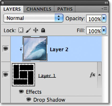 If we look in the Layers panel, we see that Layer 2 is now indented to the right with a small arrow on the left of the preview thumbnail pointing down at Layer 1 below it.