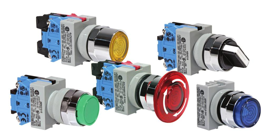 ømm - TW Series features: TW NEMA Switches with snap-on contacts Corrosion resistant octagonal chrome plated locking bezel Snap-on 0A contact blocks Incandescent or LED illumination Slow make, double