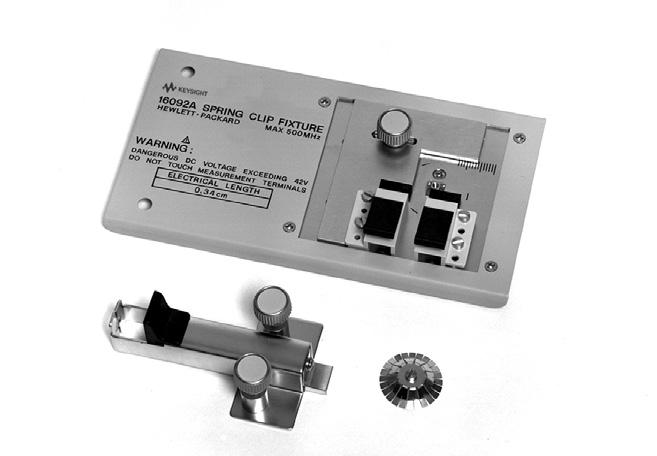 29 Keysight Accessories Catalog for Impedance Measurements - Catalog Up to 3 GHz (7 mm): Lead Components 16092A Spring clip fixture Terminal connector: 7 mm DUT connection: 2-Terminal Electrical