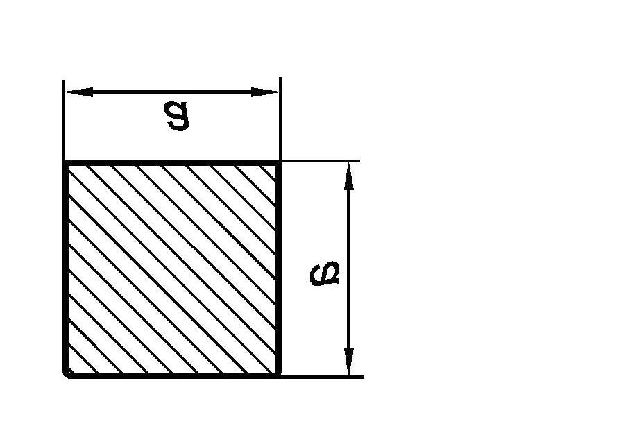 Size a Figure 1 Hot rolled square bar Table 1 Preferred sizes, mass and size tolerances of hot rolled square bars for general purposes Limit deviation a Mass b c Area of cross section Size a Limit