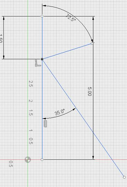 10. Use the Sketch Dimension tool to set the angle of the line to 72.5 degrees as illustrated below.