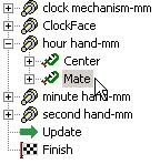 In the Browser pull-down menu select Components. Using, the Select Parts tool, highlight the hour hand. With the hand highlighted right mouse click. From the floating menu select Synchronize Browser.
