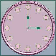 Line the cursor up to the desired spot in the center of the clock and left click. The axis origin point will snap to this new location.