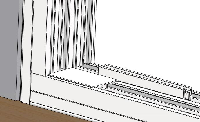 Step 7 (Installing 4 Sash Stops Sill Only): 1) Insert the supplied 4 sash stops with the wide flat tab toward the fixed panel into the interior sash panel frame track in Sill at the corners of the