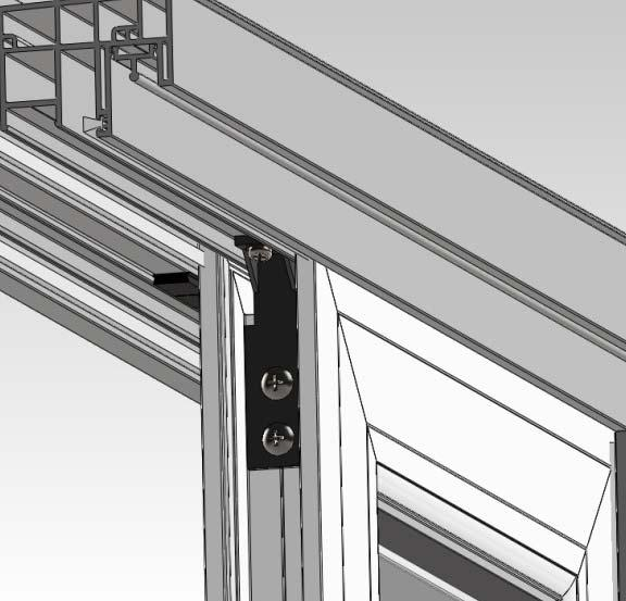 Step 10 (Fastening the Fixed Sash Panels): 1) Insert the Fixed Panel Bracket as show below.