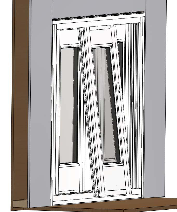 Step 15 (Active Sash Panel or Panels): 1) Insert the active sash panel from the interior of the opening at the center of the door frame into the interior sash track at the head.