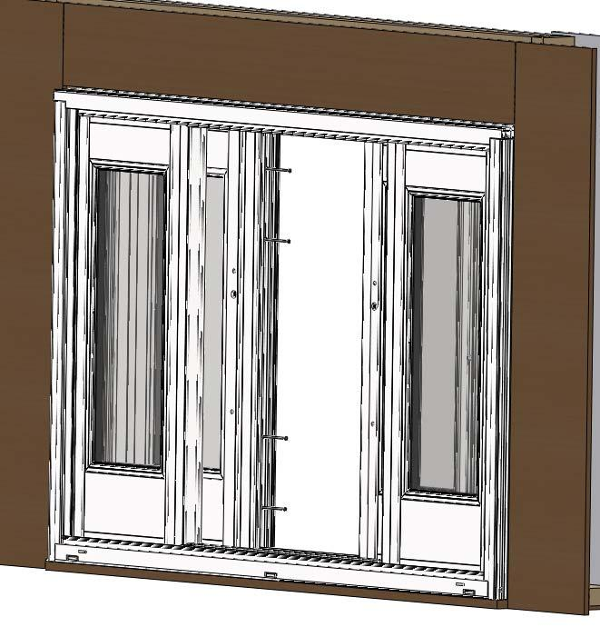 Step 19 (Installing 4 Panel Mullion): 1) Open both active panels and insert the 4 panel mullion into the interior sash panel track.