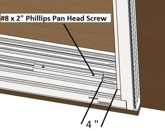 1) On both side of the door frame, install the sash panel blocks in to the sill using the #8 x 2 Phillips pan head screws provided. Fasten the panel block 4 from each corner. DO NOT block the weeps!