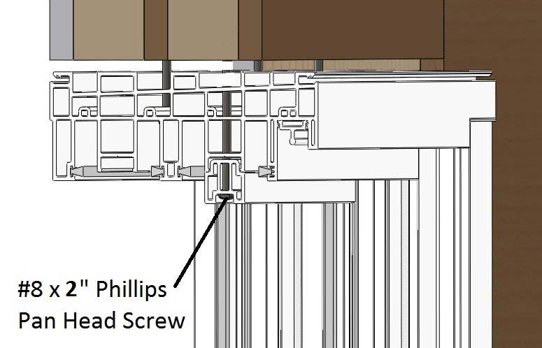 3) At the end of each of the exterior sash support place a wide high profile fuzz pad (5210) in the gap between interior sash support and the exterior sash support.