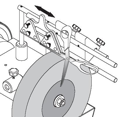 The inner face of the scissor blade should be against the Backing Plate (2) and the outer face of the blade should be against the Scissors Support (). Please refer to the illustration. 4.