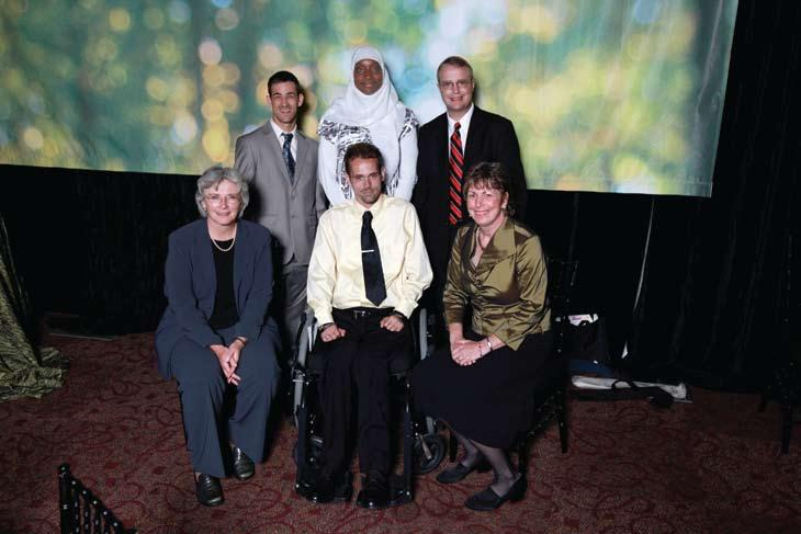 Phillips Award winners back row: William James Anderi, Valerie Shirley (Caregiver Award), Nick