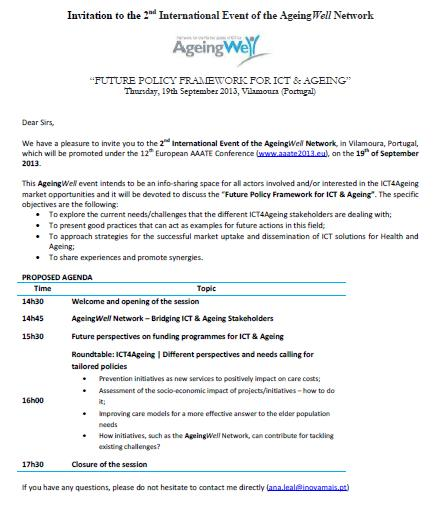 Figure 2: Invitation sent by email Invitations were sent to all associate members and supporters of the AgeingWell Network, as well we to the stakeholders listed in the D2.2 1, among others.