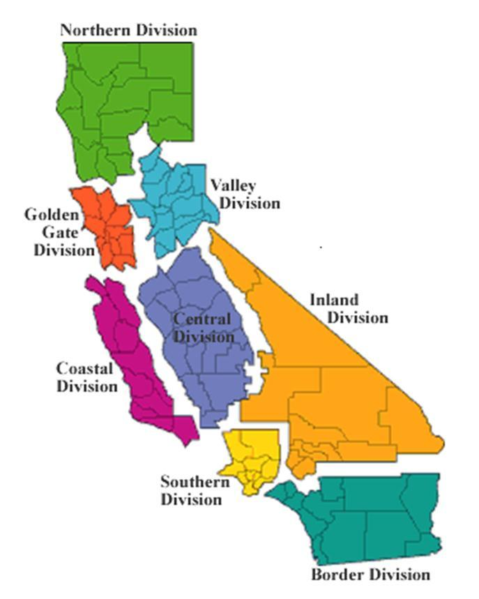 California Highway Patrol Divisions The California Highway Patrol has 8 divisions, with one or more Dispatch or Communication Centers in each division.