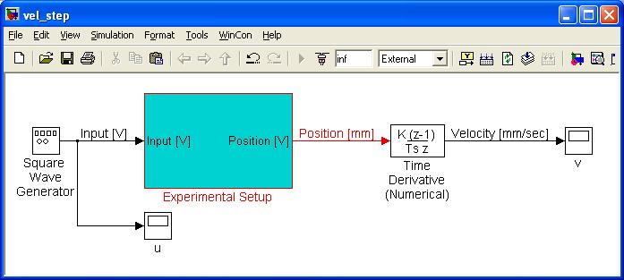 Figure 3: Simulink file for measuring velocity step response. 2 Proportional (P-type) Position Control: You will now implement your first servo-controller experimentally!