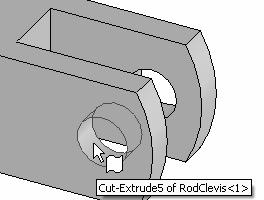 Linkage Assembly 232) Click the inside left hole face of the RodClevis. 233) Click the long cylindrical face of the AXLE. The cursor displays the Face feedback symbol.