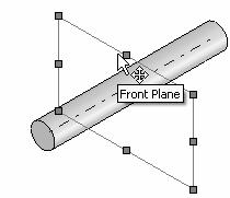 The Base feature geometry for the AXLE is an extrusion. How do you create a solid Extruded Base feature for the AXLE?
