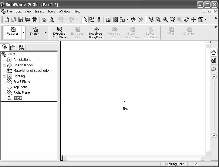 Linkage Assembly Create a new part. 6) Click File, New from the Main menu. Select Advanced Mode. 7) Click the Advanced button to display the New SolidWorks Document dialog box in Advanced mode.