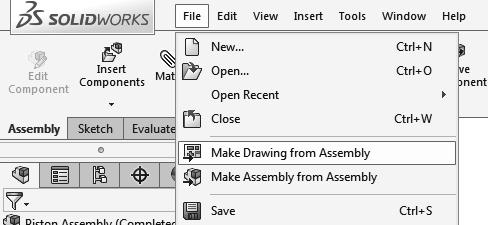 5. Making a drawing from assembly: - Select File / Make Drawing from Assembly (arrow). - Select the Drawing template. - The default drawing (A-Size) is displayed.