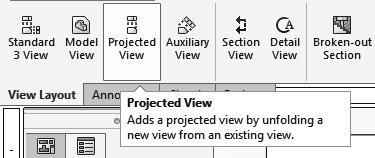7. Creating the projected drawing views: - New drawing views can now be projected vertically or horizontally from the new view.