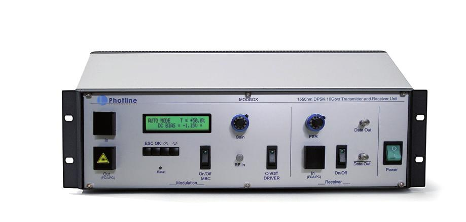 Delivering Modulation Solutions The -1550nm-12Gbps-DPSK is an optical modulation unit that generates high performance DPSK optical data streams.