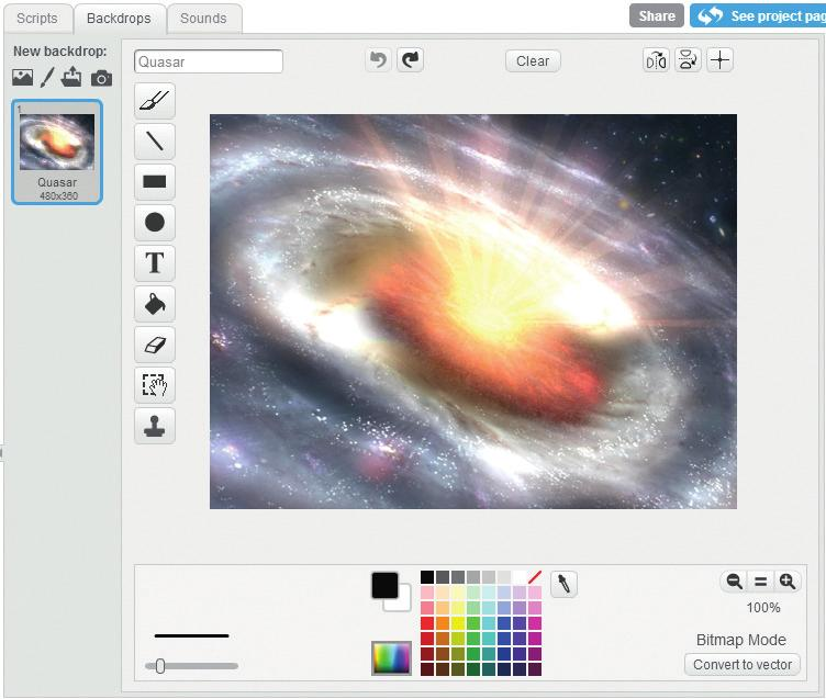 Next, let s look at the Stage. I used artwork of a black hole from NASA! You can draw a new backdrop if you like.