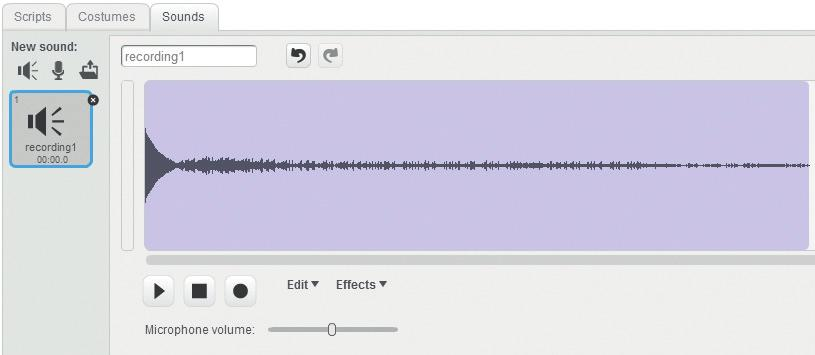 You can even record your own sounds right in the Scratch program. If you click the Record button, a sound recorder will pop up.
