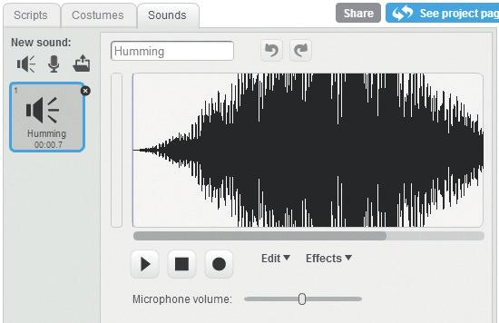 In program ❷, use the Sound palette to add a song to the