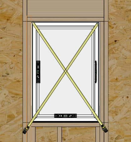 Step 4: Window Installation (cont.) D. Level at the sill and plumb the frame (interior/exterior). Shim under the jambs to bring to level if necessary. (Fig. 9) E.