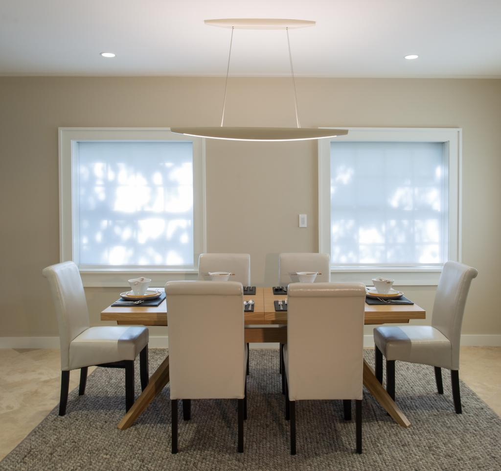 "Photo by Robin Hill The Finiré 4"" family Finiré 4"" LED recessed lighting comes"