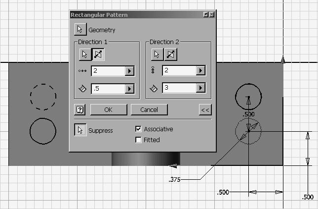 Autodesk Inventor R8 Fundamentals Rectangular Pattern This rectangular pattern tool only works in sketch mode.