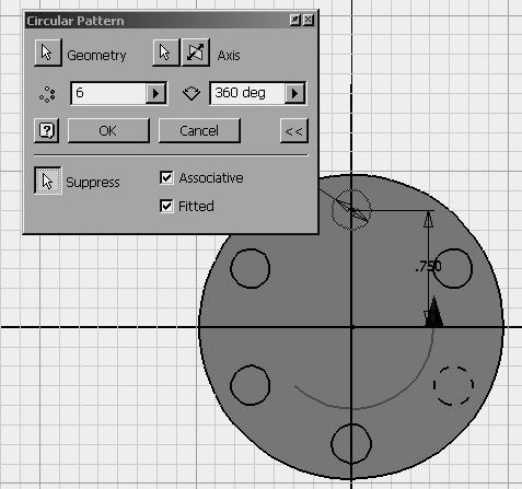 Sketch Tools Circular Pattern Select the geometry to pattern. For the axis, select an arc or circle (in this example, the edge of the outer circle was projected onto the active sketch.