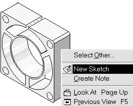 Select the right vertical side of the fan box as shown. Right click and select New Sketch. 3.