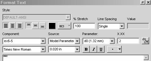 Sketch Tools 5. Select Times New Roman for the font to be used. Set the Font Size to 0.020 in.
