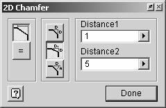 Equal Distance 2 Distance Distance-Angle Chamfers can be defined in three ways: Equal Distance, 2 Distance, and Distance-Angle.